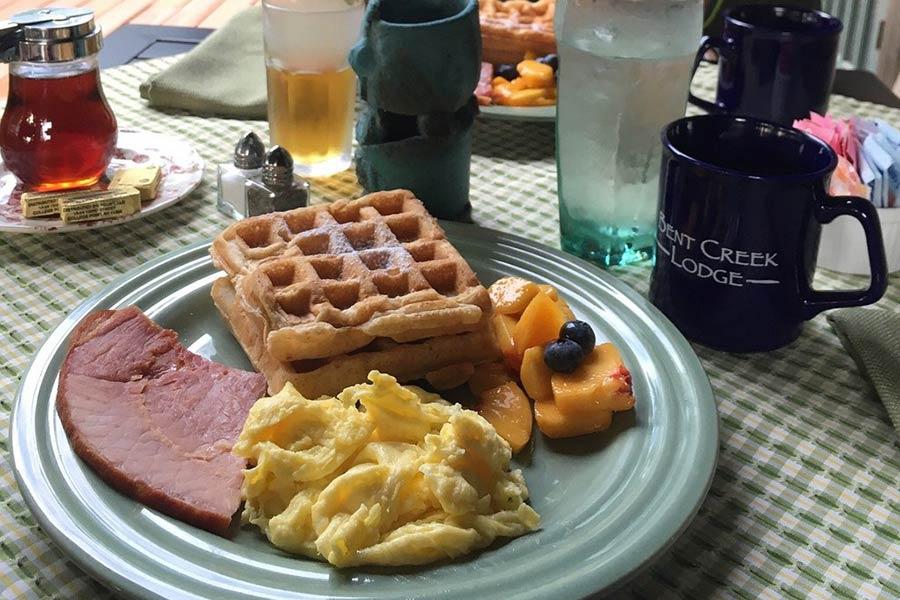 waffles and eggs at Bent Creek Lodge