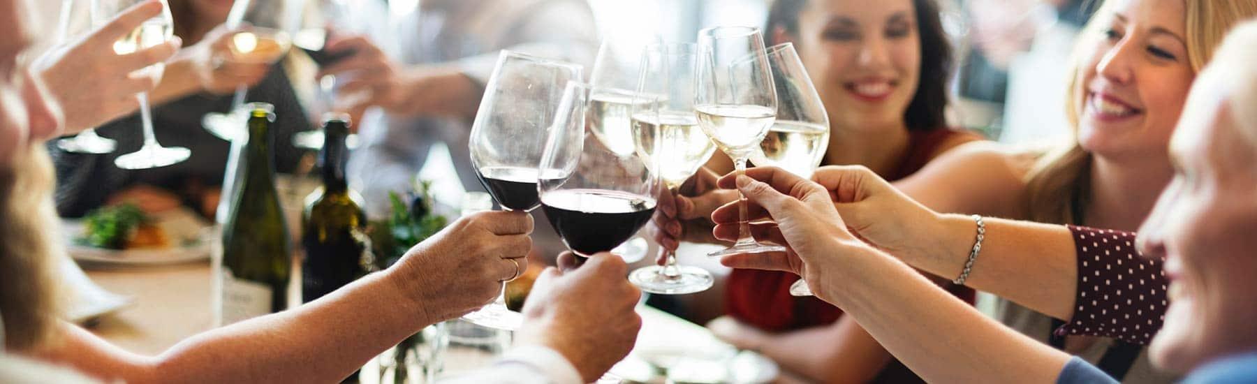 Group Cheering Wine