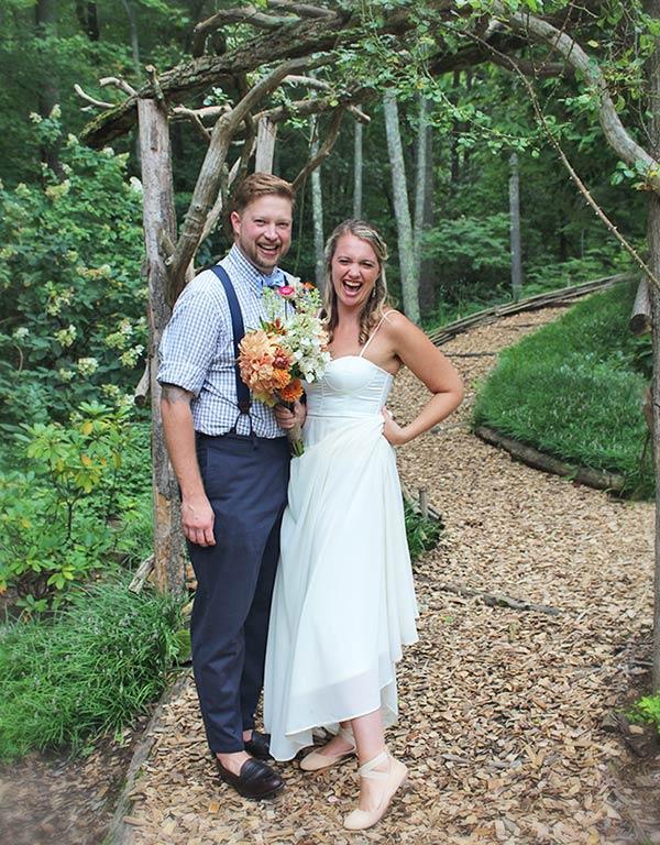 Asheville elopement couple